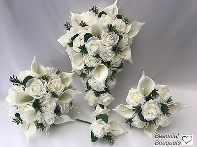 Wedding Flowers Ivory Rose Bouquet posy Bride Bridesmaid Flower Girl Wand lily