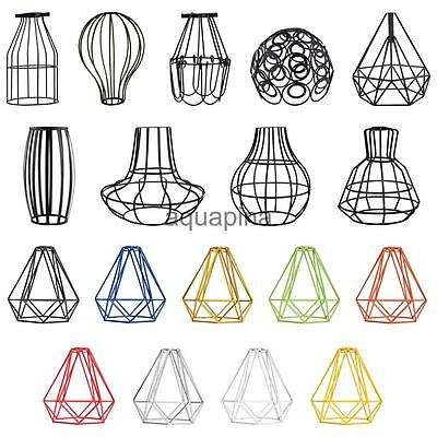 Vintage Edison Metal Wire Cage Hanging Lamp Shade Pendant Light Chandelier