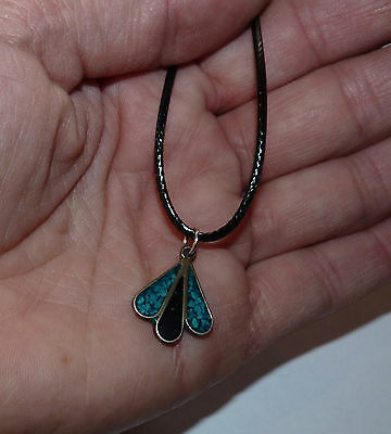 Vintage Mexican Alpaca Silver, Enamel & Inlaid Turquoise Pendant on Cord.