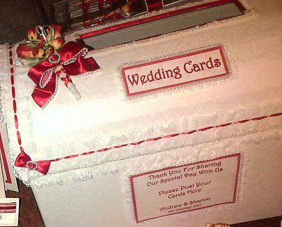Wedding Card Post Box Treasure Chest  Personalised Any name etc Red Roses