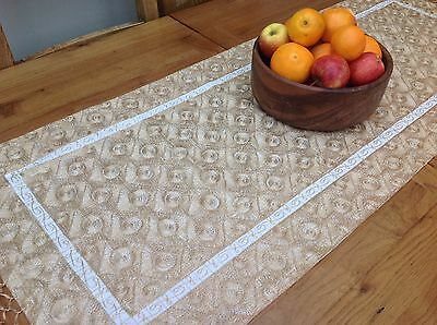 New Table Runner Cotton White Gold Embroidery  50 x 130 cm  RRP £29
