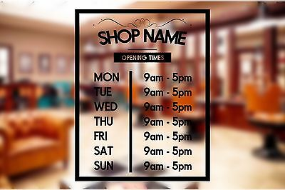Opening HOURS Times + SHOP NAME Window Wall Sign Vinyl Decal Transfer Sticker
