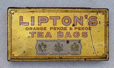 Old Advertising LIPTON ORANGE PEKOE TEA BAGS TIN Thomas Lipton Tea Plantation