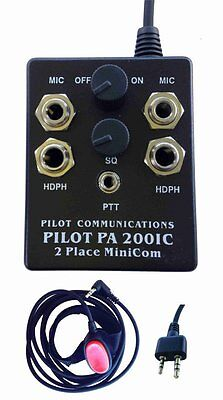 Pilot PA200IC Portable Aircraft Intercom pre-wired for Icom A2, A20 or A21