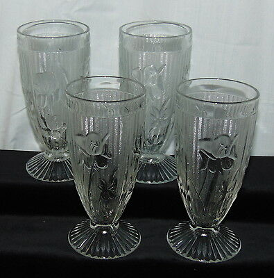 """4 Jeannette IRIS CRYSTAL *6"""" FOOTED TUMBLERS*"""