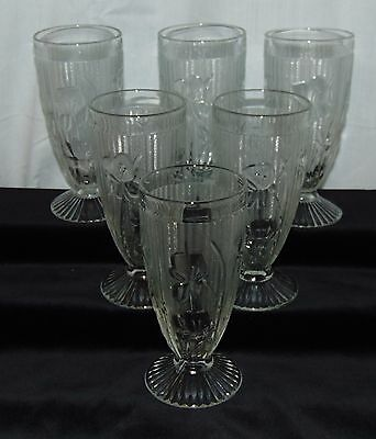 """6 Jeannette IRIS CRYSTAL *6"""" FOOTED TUMBLERS*"""