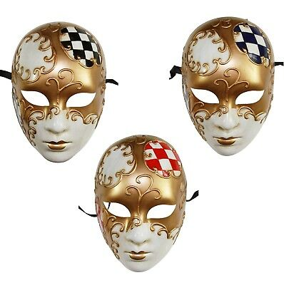 Kayso Full Face Mysterious Women Venetian Checkered Masquerade Mask Costume