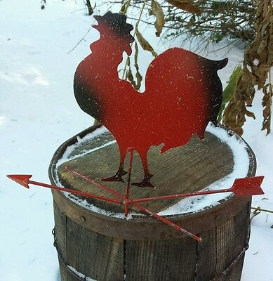 Metal Folk Art Rooster Vintage Weather Vane Style Primitive Painted Wall Hanging