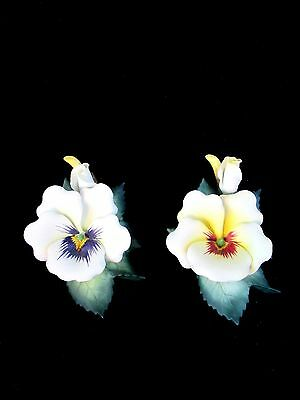 Andrea's Flowers YELLOW PANSIES Set of 2 Porcelain Handpainted Sadek 910