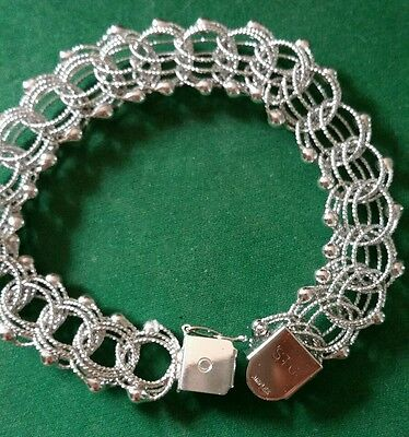 Vintage sterling silver triple link with bead charm bracelet 21g
