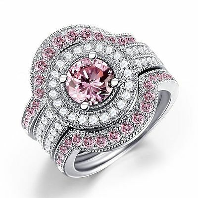 3 in 1/set Fashion Women 925 Silver Pink Sapphire Wedding Band Ring Size 7-10