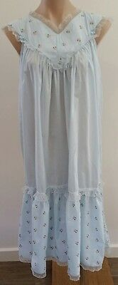 Retro 1980s Lotus BLUE Cotton PINK Floral Embroidered Pretty Long Nightie size S