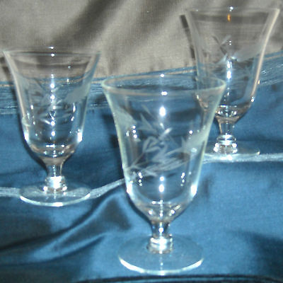 Vintage Etched Wheat Design Wine Water Glass Stemware Set of 3