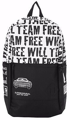 Supernatural Team Free Will Flat Front Backpack Book Bag New with Tags