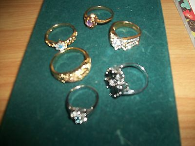 Fabulous Glitzy Costume Rings Perfect Condition Ring Jewelry Lot Wow Lg Sizes