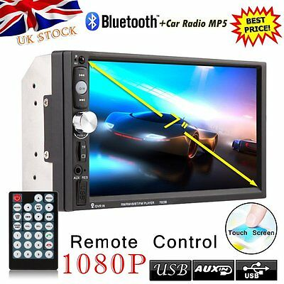 """7"""" LCD 2 Double DIN Car Head Units Bluetooth Radio Dash MP5 Player Touch Screen"""