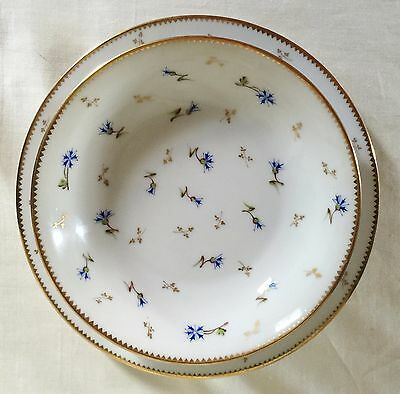 """""""Vieux Nyon"""" Swiss porcelain breakfast set. ONE Dessert plate, ONE cereal bowl."""