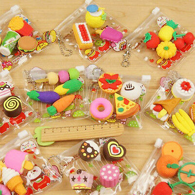 Hot Selling 4Pcs Cake Hamburger Food Drink Fruit Rubber Erasers Kawaii Novelty