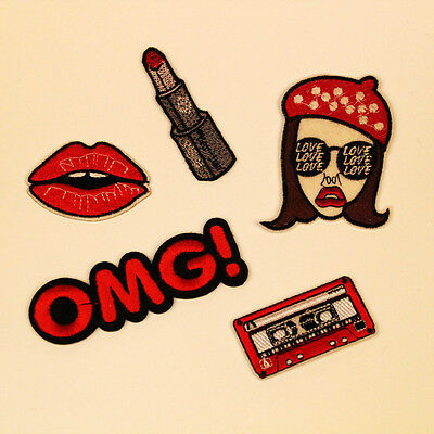5pcs OMG Girl Lipstick Embroidered Sew Iron On Patch Badge Bag Jeans Applique