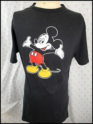 Vintage 80s Black Cotton Official Disney Mickey Mouse Australian Made T-shirt XL