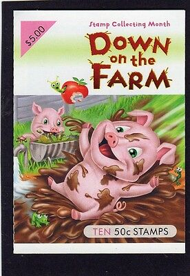 2005 AUSTRALIAN STAMP BOOKLET DOWN ON THE FARM 10 x 50c STAMPS MUH