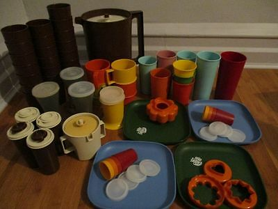 Vintage Tupperware Huge Lot Mixed Pitcher Glass Square Plate