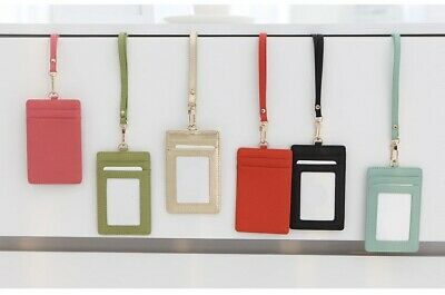 Badge Id Holder Press Pass Lanyard Card Wallet Genuine Leather Tag Neck Strap