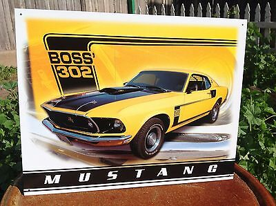 FORD MUSTANG BOSS 302 Collectible Tin Metal Classic Sign Poster Garage