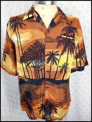 Vintage 70s Landmark Short Sleeve Polyester Tiki Hawaiian Island Resort Shirt M