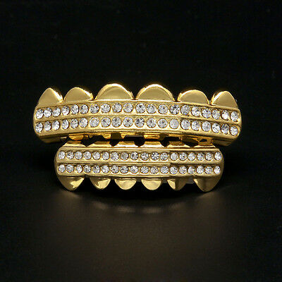 Hip Hop Silver/Gold Plated Mouth Teeth Grills Grillz Top & Bottom Bling Teeth
