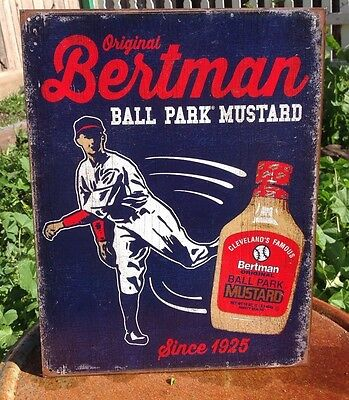 BERTMAN BALL PARK MUSTARD Collectible Tin Metal Classic Sign Poster Garage Bar