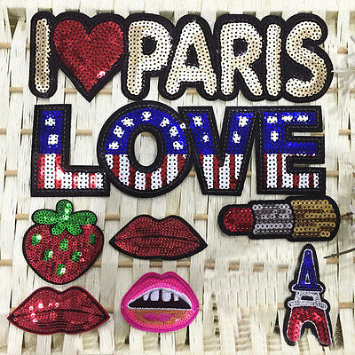 8pc Letter Red Lip Sequin Embroidered Sew Iron on Patch Cloth Badge Bag Applique