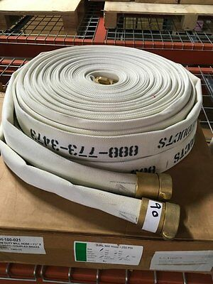 """250Psi New Fire Hose 1.5"""" X 100 Ft With Brass Couplings"""