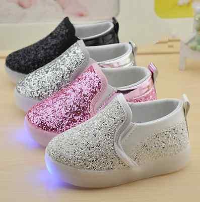Children's Running Glitter Slip On Sneakers Light Girls Boys Kids Sport Shoes