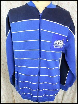 Vintage 80s Blue & White Simpson Ford Australian Open Zip-Up Training Jacket S
