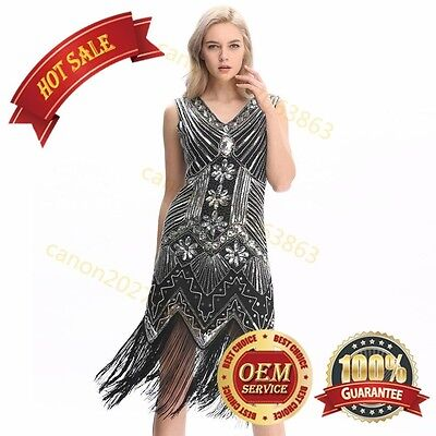US Flapper 1920s Dress Sequined Inspired Beaded Gatsby 20s Party Dress Plus Size