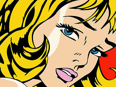 Roy Lichtenstein Girl Vector Pop Art Silk Poster 24x36 inch