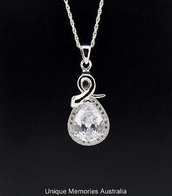 Sterling Silver Ornate Teardrop Stone Memorial Keepsake Cremation Urn Pendant