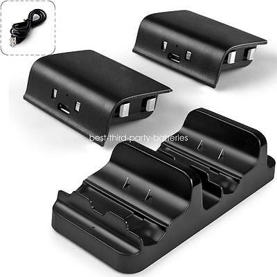 For XBOX ONE Controller USB Charger Dual Charging Dock+2 Rechargeable Batteries