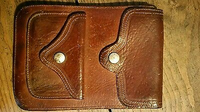 vintage 1970's leather belt bad pouch 8x5 inch