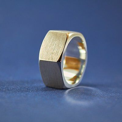 925 Sterling Silver Wide Hexagon Screw Nut Ring Band Handmade Bolt Men Ring