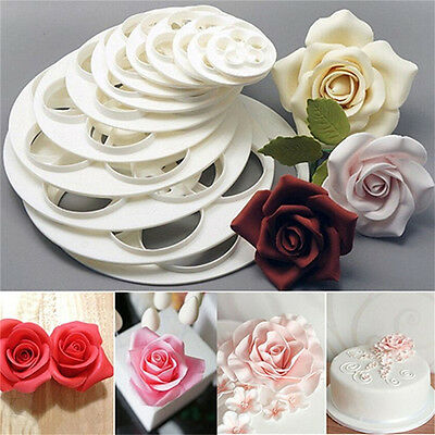 6x Fondant Cake Sugar Craft Decor Cookie Rose Flower Mold Gum Paste Cutter GD