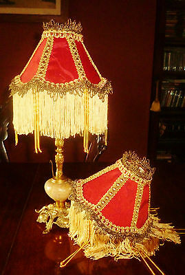 """Osborne, Pair Of Victorian Style Beaded Candle Shades. Red Silk Damask 6"""""""