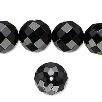 1482 Onyx Faceted Round Beads Black 14mm 16inch  *UK EBAY SHOP*