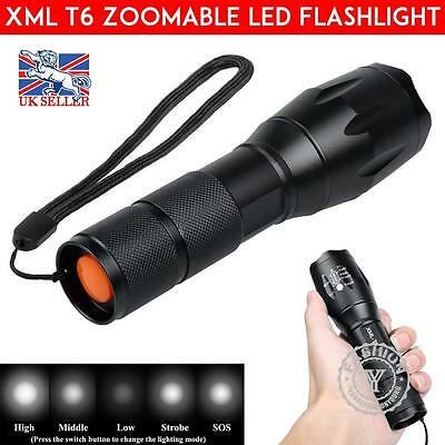 5000LM T6 Police LED Zoomable Flashlight Waterproof Torch Light Lamp AAA 18650