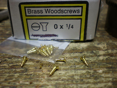 "Pack of 10 Brass Wood SCREWS Size 0 x 1/4"" long countersunk clock barometer lock"