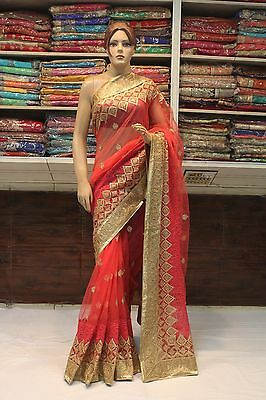 Indian Bollywood Ethnic Traditional Designer Net Saree Sari Bridal Party Dress