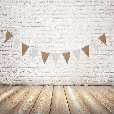 Birthday Hessian Lace Wedding Bunting Garland Party Hang Banner Decoration Flags