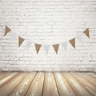 UK 3.3M Rustic Hessian Fabric Lace Bunting Shabby Chic Banner Wedding Party Top