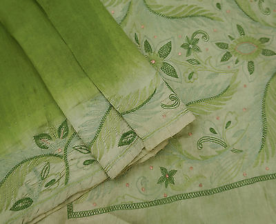 Vintage Indian Saree Embroidered Polyester Green Craft Sari Used Wrap Fabric 5YD